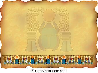 scarab., papirusz, dísztárgyak, egyiptomi