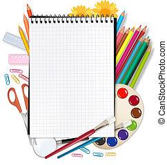 school., hát, izbogis, notepad