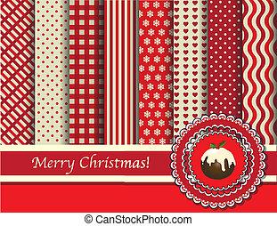 scrapbooking, karácsony, piros, krém