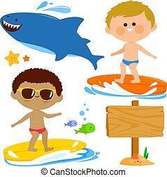 sea., ábra, gyűjtés, szörfözás, fiú, vektor