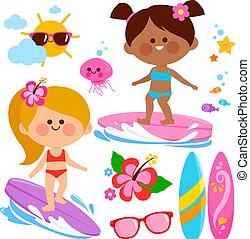 sea., ábra, gyűjtés, szörfözás, lány, vektor
