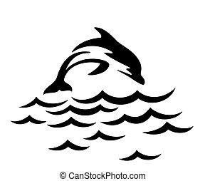 sea., ugrás, delfin