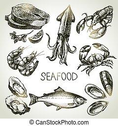 seafood., skicc, állhatatos, ábra, kéz, vektor, húzott