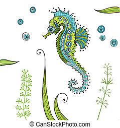 seahorse, tropikus, vektor, -, háttér