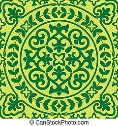 seamles, ázsiai, díszítés, zöld