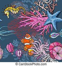 seamless, bohóckodik, óceán, tengeri, kökörcsinfélék, motívum, élet, fish