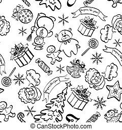 seamless, körvonal, motívum, karácsony