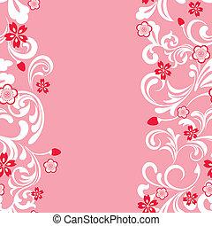 seamless, kivirul, cseresznye, keret, rózsaszínű