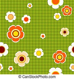 seamless, motívum, virágos, zöld