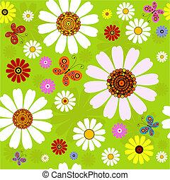 seamless, nyár, motívum, virágos