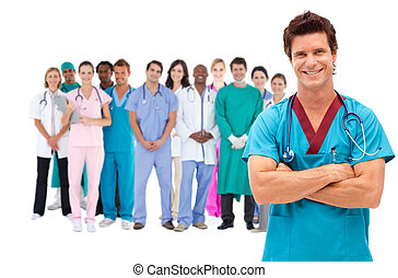 sebész, bot, mosolygós, mögött, őt, orvosi