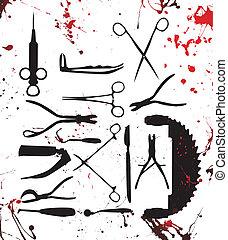 sebészet, eszközök, véres