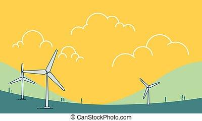 sebesülés energia, ég, modern, concept., design., erő, turbina, táj, ökológia, vektor, környezeti, zöld, háttér., illustration., természet, hegy