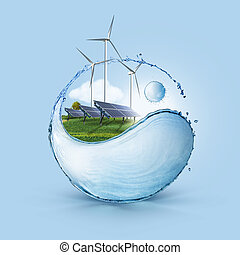sebesülés turbine, grows, sejt, nap-, mező