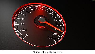 sebességmérő, gyorsaság, piros, gyorsan