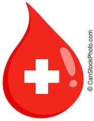 segély, csepp, vér, először