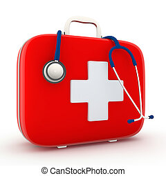 segély, először, sztetoszkóp, felszerelés