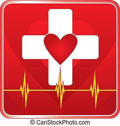 segély, orvosi health, jelkép, először