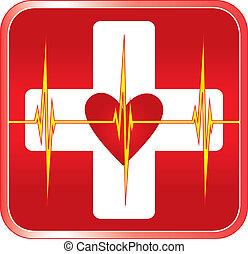 segély, orvosi jelkép, először