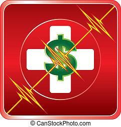 segély, orvosi, költség, jelkép, először