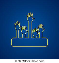 segítő kéz, háttér, tervezés