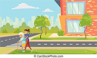segítség, öregedő woman, öreg, ábra, eltart, outdoors., út, emberek, segítség, őt, mosolygós, lakás, tart, törődik, város, kereszt