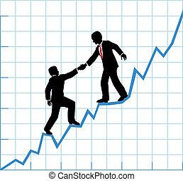 segítség, ügy, társaság, diagram, növekedés, befog