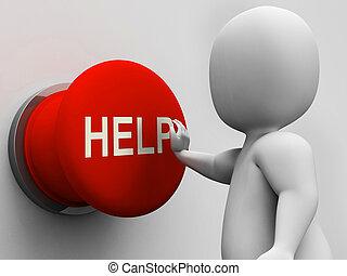 segítség gombolódik, segítség, segély, eltart, látszik