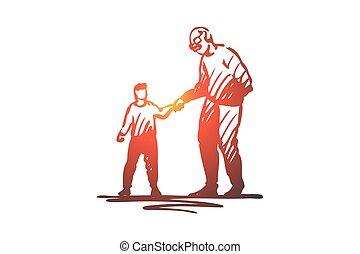 segítség, húzott, kölyök, nagyapa, jó, elszigetelt, fiú, modor, kéz, concept., vector.