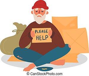 segítség, kérdezés, otthontalan, öreg város, koldus