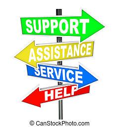segítség, szolgáltatás, mutat, segítség, oldás, nyíl, cégtábla, eltart