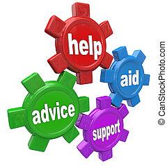 segítség, tanács, fogaskerék-áttétel, szavak, segély, eltart, 4