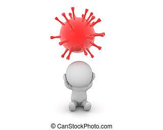 sejt, betű, 3, vírus, piros, felül, hansúlyos
