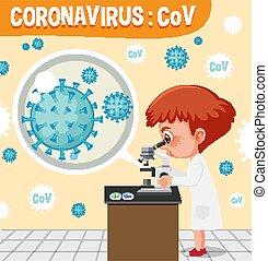 sejt, orvos, látszó, kiállítás, coronavirus, ábra, vírus