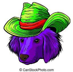 selyem, kutya, szürke, súlyos, csípőre szabott, labrador, karikatúra, vektor, vizsla, kalap