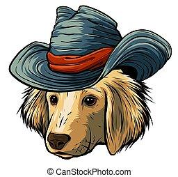 selyem, szürke, labrador, súlyos, kutya, vektor, vizsla, csípőre szabott, karikatúra, kalap