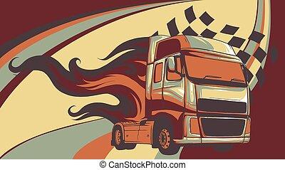 semi, ábra, tervezés, karikatúra, truck., vektor