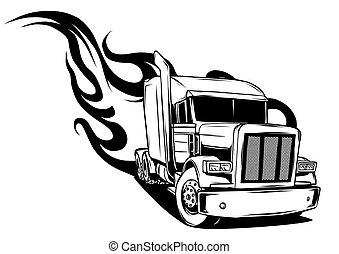 semi, ábra, vektor, tervezés, truck., karikatúra