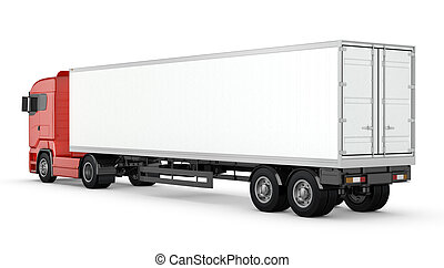 semi-trailer, elszigetelt, csereüzlet, tiszta, white piros