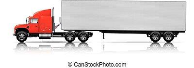 semi-truck, kúszónövény, piros