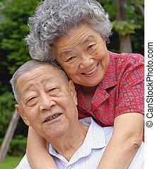 senior összekapcsol, boldog