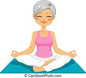 senior woman, jóga