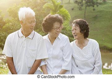 seniors, liget, csoport, ázsiai