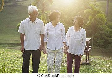 seniors, liget, gyalogló, csoport, ázsiai