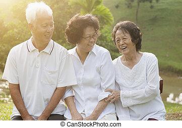 seniors, liget, külső, csoport, ázsiai