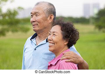 seniors, párosít, park., öregedő, boldog