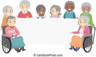 seniors, stickman, transzparens