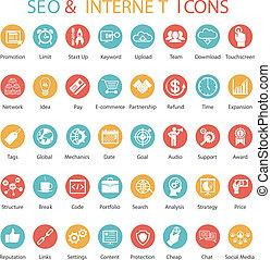 seo, állhatatos, ikonok, internet, nagy