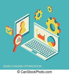 seo, analízis, analytics, tervezés, website, isometric, fogalom, modern, adatok