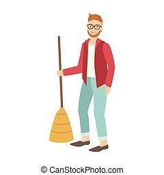 seprű, emelet, feláll, tiding, takarítás, betűk, elsöprő változás, ember, karikatúra, felnőtt